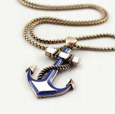 "31"" Retro Fashion Noble Navy Blue Anchor Women Party Long Chain Necklace 2 Color"