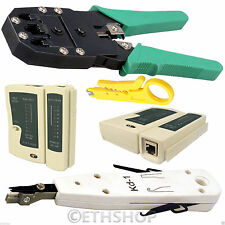 RJ11 RJ45 Cat5e Cat6e Cable Crimping Crimper Tester Punch Down Tool Network Kit