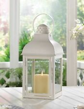 BULK LOTS Large White Iron Domed Roof Candle Lanterns with Clear Glass Panels