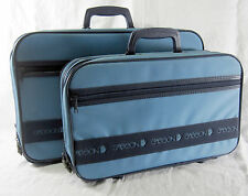 Vidal Sasson Luggage 2 Small Blue Suitcases Vintage 1980's Nylon with Store Tag