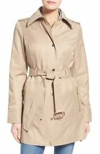 MICHAEL MICHAEL KORS Woman's Khaki Beige Snap Front Belted Trench Coat Jacket