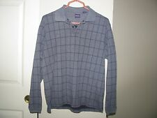 Arrow Blue Gray Check Plaid Mens Long Sleeve Polo Golf Casual Dress Shirt Size M