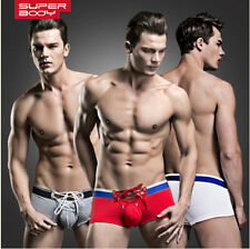 Men Sexy Superbody Boxers Cotton Underwear Lace Up String Low Waist Underpants