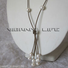 """24"""" 6-8mm White Freshwater Pearl Khaki Leather Rope Necklace Jewelry"""