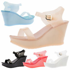 WOMENS WEDGES LADIES JELLY SANDALS SMMER HIGH HEEL PLATFORMS PEEP TOE SHOES SIZE