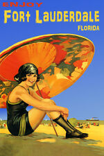 ENJOY FORT LAUDERDALE FLORIDA GIRL BEACH TRAVEL TOURISM USA VINTAGE POSTER REPRO