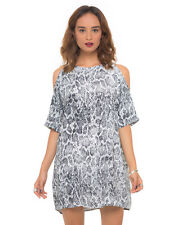 MOTEL ROCKS Savannah Cold Shoulder Dress in Snake Print (mr46)
