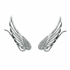 Rhodium 925 Sterling Silver Angel Wing Cz Crystal Earwire Hook Ear Cuff Wrap