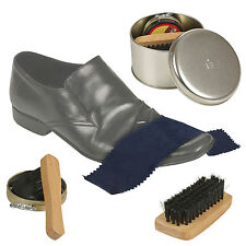 4 In 1 Black Shoe Shine Polish Kit Travel Set Gift Box Cleaning Brush Portable