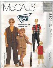 8304 UNCUT McCalls Sewing Pattern Boys French Toast Lined Vest Pants Shorts OOP