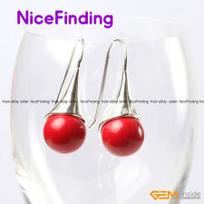 12mm Round Ball Silver Plated Drop Dangle Hook Earrings Jewelry Christmas Gifts