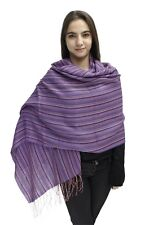 Womens Baby Alpaca And Silk Pashmina Shawl Wrap Striped Design