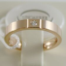 18K ROSE GOLD WEDDING BAND UNOAERRE SQUARE COMFORT RING, DIAMOND MADE IN ITALY