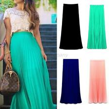 Women's Double Layer Chiffon Pleated Long Maxi Skirt Elastic Waist Skirt Dress