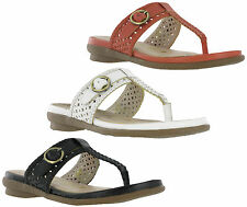 Gluv Leather Barcelona Comfort Toe Post Womens Slip On Sandals Shoes Size 4-8 UK