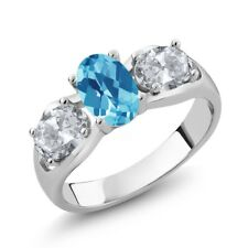 1.95 Ct Oval Checkerboard Swiss Blue Topaz White Topaz 925 Sterling Silver Ring