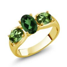 1.80 Ct Oval Emerald Envy Mystic Topaz Green Tourmaline 14K Yellow Gold Ring