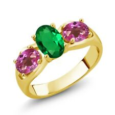 1.60 Ct Oval Green Simulated Emerald Pink Mystic Topaz 18K Yellow Gold Ring