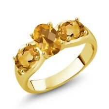 1.50 Ct Oval Checkerboard Yellow Citrine 18K Yellow Gold Plated Silver Ring