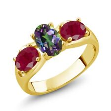 2.00 Ct Oval Green Mystic Topaz Red Ruby 18K Yellow Gold Plated Silver Ring