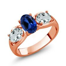 1.76 Ct Oval Blue Simulated Sapphire Sky Blue Aquamarine 18K Rose Gold Ring
