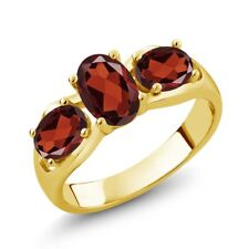 1.90 Ct Oval Red Garnet 18K Yellow Gold Ring