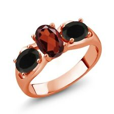 1.68 Ct Oval Red Garnet Black Onyx 18K Rose Gold Plated Silver Ring
