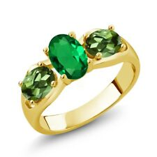 1.60 Ct Oval Green Simulated Emerald Green Tourmaline 18K Yellow Gold Ring