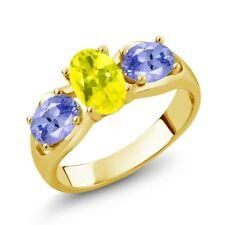 1.70 Ct Oval Canary Mystic Topaz Blue Tanzanite 14K Yellow Gold Ring