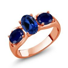 2.00 Ct Oval Blue Simulated Sapphire Blue Sapphire 14K Rose Gold Ring