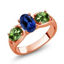 1.90 Ct Oval Blue Simulated Sapphire Green Tourmaline 18K Rose Gold Ring