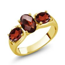 1.80 Ct Oval Checkerboard Red Garnet 18K Yellow Gold Plated Silver Ring