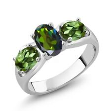 1.80 Ct Forest Green Mystic Topaz Green Tourmaline 925 Sterling Silver Ring