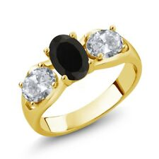 1.80 Ct Oval Black Onyx White Topaz 18K Yellow Gold Ring