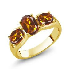 1.50 Ct Oval Orange Red Madeira Citrine 14K Yellow Gold Ring