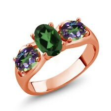 1.80 Ct Oval Emerald Envy Mystic Topaz Green Mystic Topaz 18K Rose Gold Ring