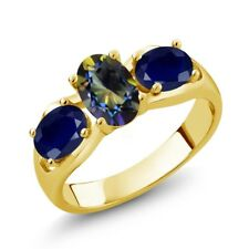 1.90 Ct Oval Blue Mystic Topaz Blue Sapphire 18K Yellow Gold Plated Silver Ring