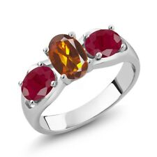 1.90 Ct Oval Orange Red Madeira Citrine Red Ruby 925 Sterling Silver Ring