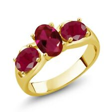 2.10 Ct Oval Red Created Ruby Red Ruby 18K Yellow Gold Plated Silver Ring