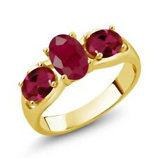 2.02 Ct Oval Red Ruby Red Created Ruby 18K Yellow Gold Plated Silver Ring