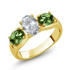 1.95 Ct Oval White Topaz Green Tourmaline 18K Yellow Gold Ring