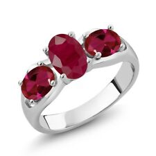 2.02 Ct Oval Red Ruby Red Created Ruby 14K White Gold Ring