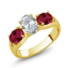 1.95 Ct Oval White Topaz Red Created Ruby 18K Yellow Gold Plated Silver Ring