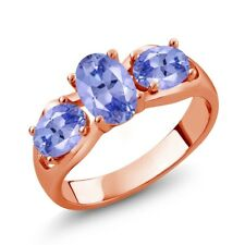 1.65 Ct Oval Blue Tanzanite 18K Rose Gold Plated Silver Ring