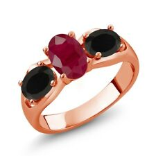 1.80 Ct Oval Red Ruby Black Onyx 18K Rose Gold Ring