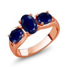 2.12 Ct Oval Blue Sapphire 18K Rose Gold Plated Silver Ring
