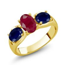2.12 Ct Oval Red Ruby Blue Sapphire 14K Yellow Gold Ring