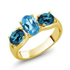 1.80 Ct Swiss Blue Topaz London Blue Topaz 18K Yellow Gold Plated Silver Ring