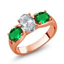 1.75 Ct White Topaz Green Simulated Emerald 18K Rose Gold Plated Silver Ring