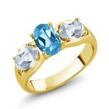 1.80 Ct Oval Swiss Blue Topaz Sky Blue Topaz 18K Yellow Gold Plated Silver Ring